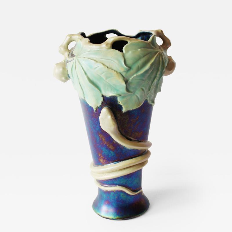 An Attactive Ziem Art Nouveau Vase with Snake and Horse Chestnut Decoration