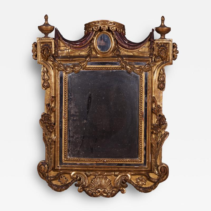 An Early Neoclassical Giltwood and Mecca Laccata Mirror Italian ca 1770