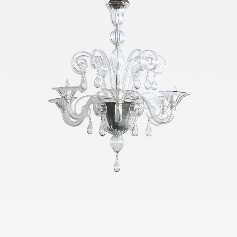 An Elegant Murano 1950s 6 light Clear Glass Chandelier