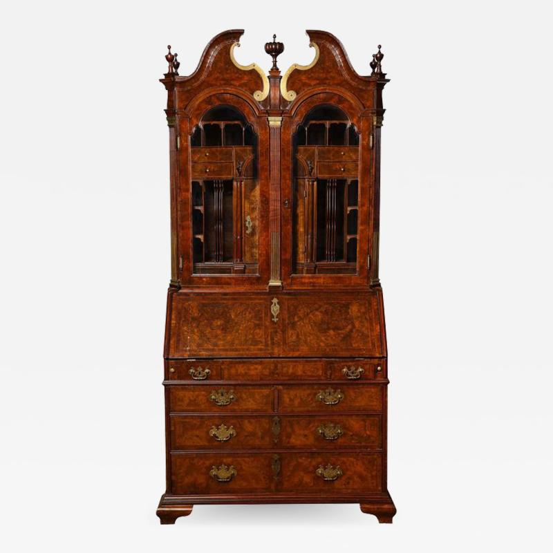 An Exceptional Burl Walnut Bureau Bookcase