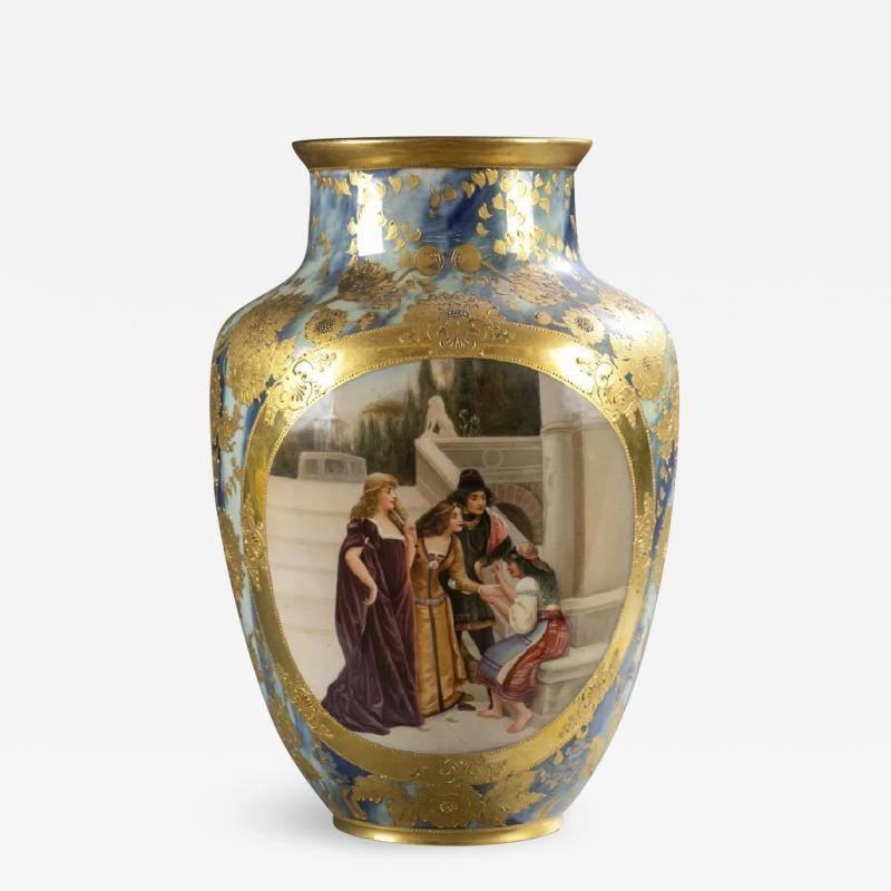 An Exquisite A Royal Vienna Porcelain Vase Depicting a Fortune Teller