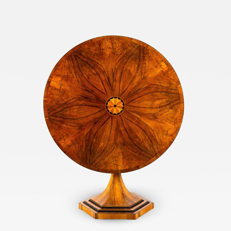 An Exquisite Biedermeier Trumpet Pedestal Tilt Top Table