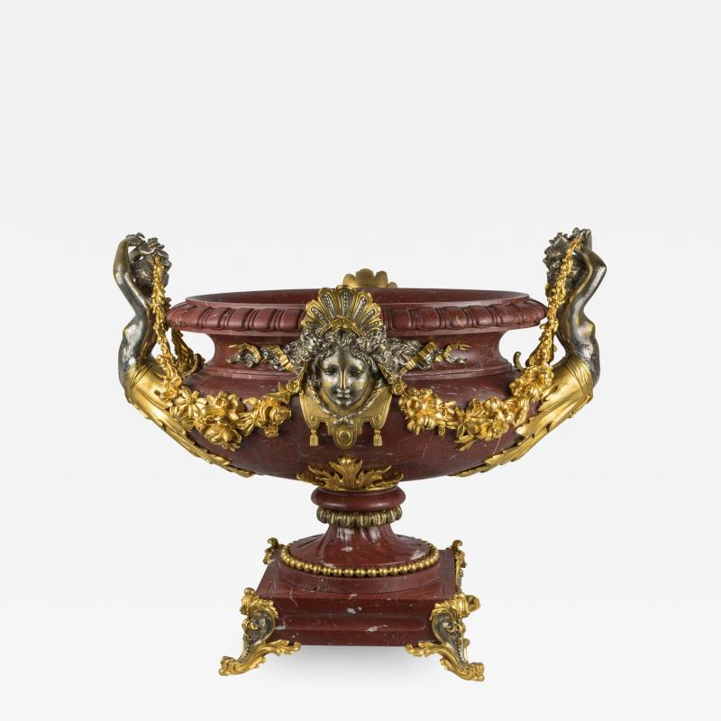 An Exquisite Ormolu Mounted and Silvered Bronze and Marble Centerpiece
