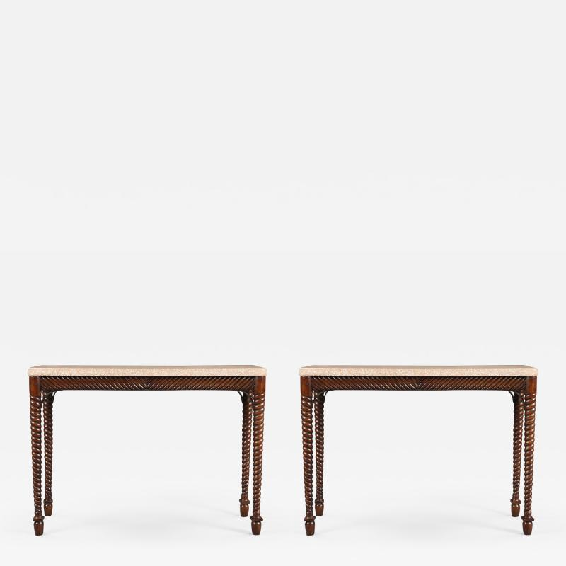 An Interesting Pair Of Spiral Turned Side Tables Of Elegant Narrow Proportions