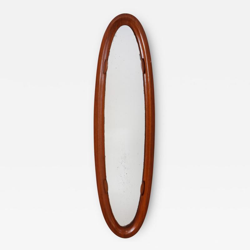 An Italian 1950s Teak Wood Molded Mirror Frame