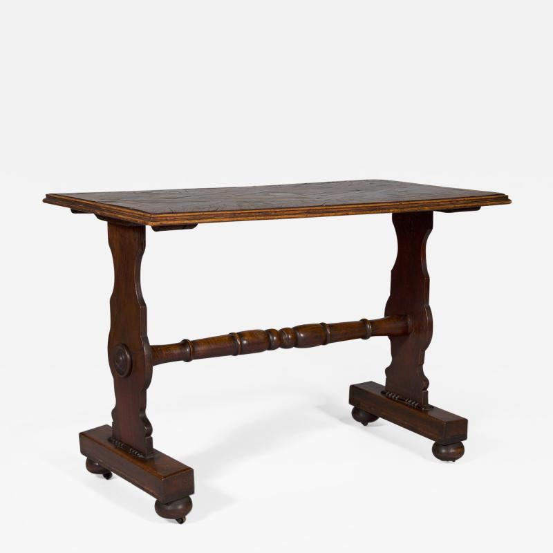 An Oak Rectangular Center Table With Parquetry Top Constructed Of Ship Timbers
