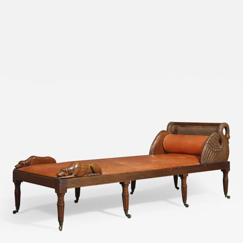 An Unusual Carved Walnut Daybed Related To A Design By Thomas Hope