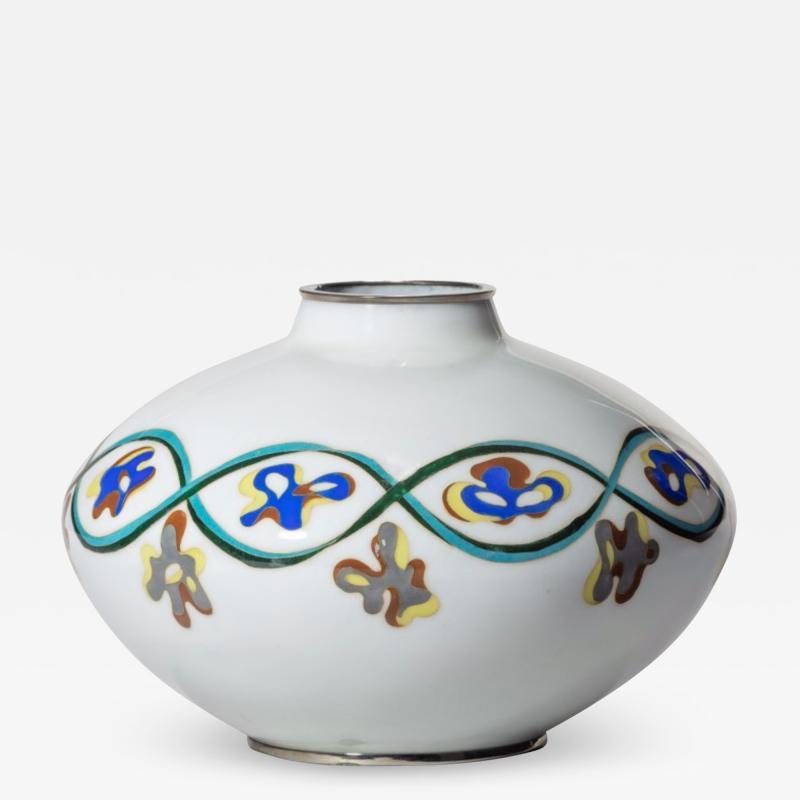 An unusual Showa period cloisonn vase
