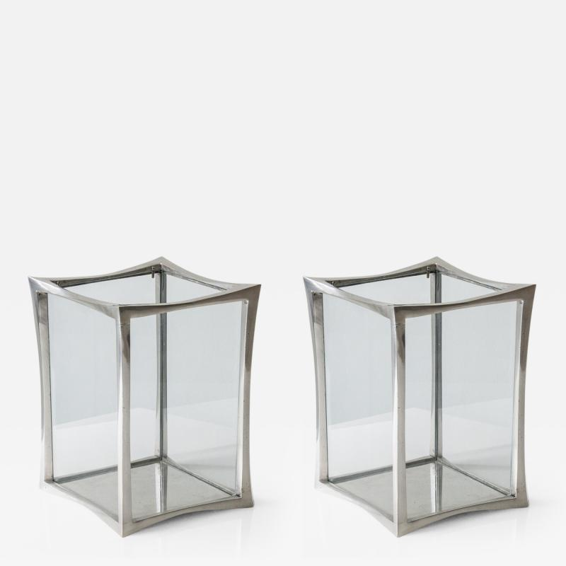 Anasthasia Millot Pair of Lanterns in Silvered Bronze by Anasthasia Millot