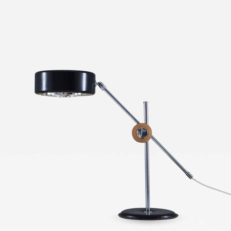 Anders Pehrson Scandinavian Desk Lamp in Chrome Leather and Black Metal by Atlj Lyktan