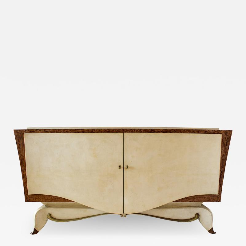 Andr Arbus Fine French Modern Parchment Bronze and Zebrawood Credenza