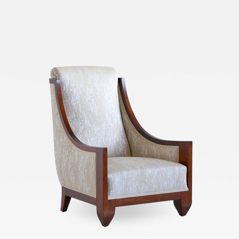 Andr Sornay Andr Sornay Art Deco Armchair in Walnut and Dotted Jacquard France Late 1920s