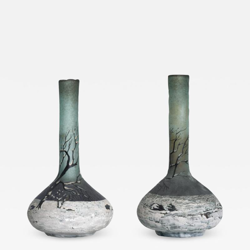 Andre Delatte Art Nouveau Pair Cameo Glass Nancy Vases Andre Delatte Daum