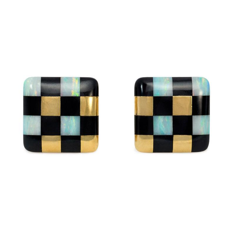 Angela Cummings Angela Cummings for Tiffany Gold and Inlaid Jade and Opal Checkered Earrings