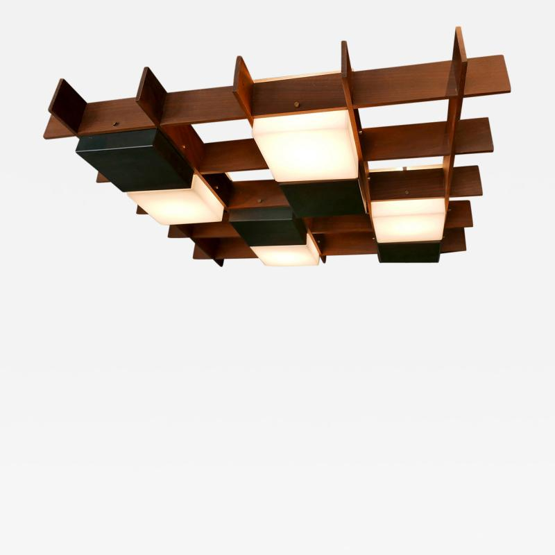 Angelo Brotto Angelo Brotto Walnut Brass and Perspex Chandelier for Esperia Italy