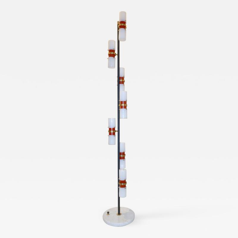 Angelo Brotto Angelo Brotto for Esperia 1960s Italian Black White Red Modern Floor Lamp
