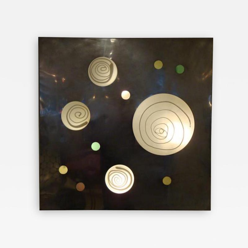 Angelo Brotto Lit Wall Piece by Angelo Brotto in Aluminum and Blown Glass Circa 1970