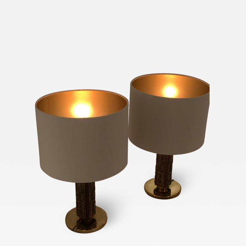 Angelo Brotto Pair of Bronze Margot Table Lamps by Angelo Brotto for Esperia Italy