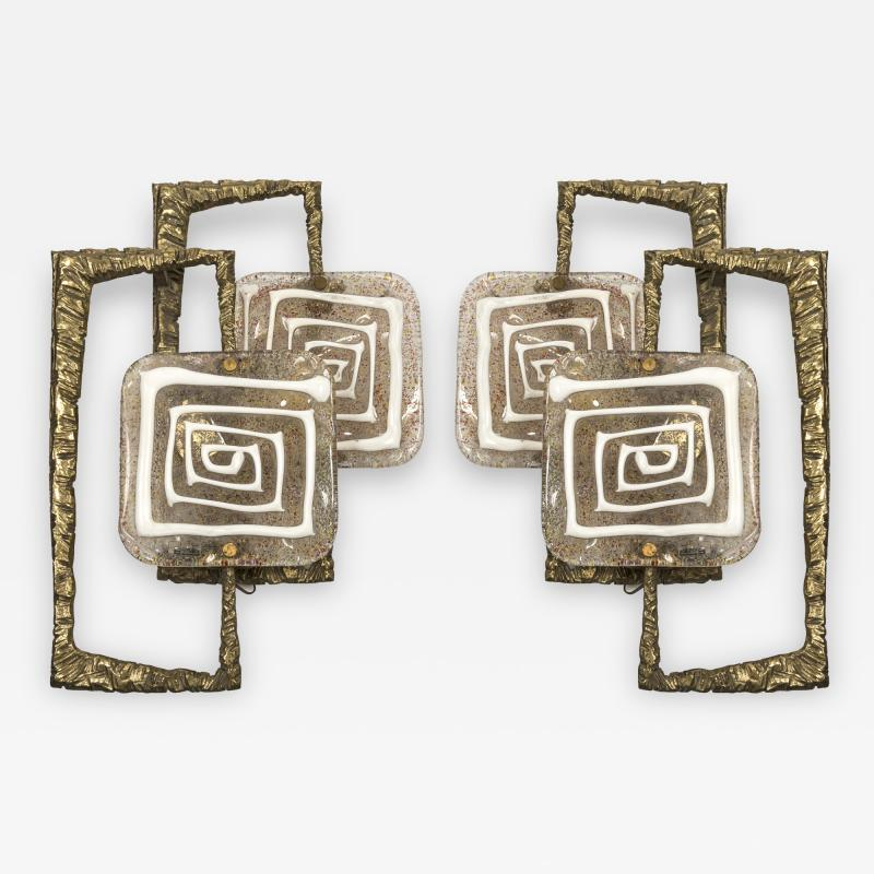 Angelo Brotto Pair of Bronze and Murano glass Sconces by Angelo Brotto
