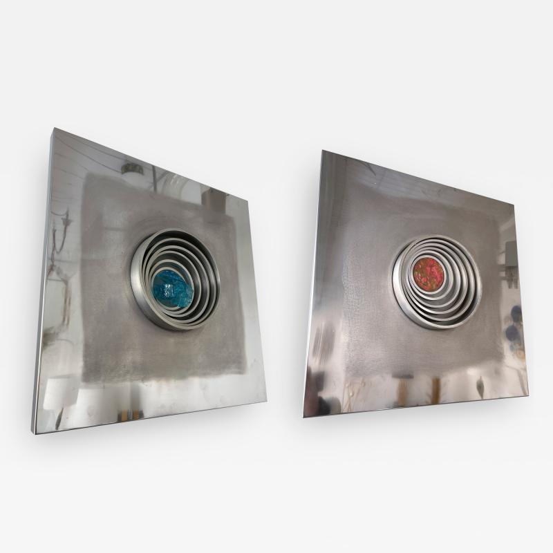 Angelo Brotto Pair of Stainless Steel Metal Sconces by Angelo Brotto for Esperia Italy 1970s