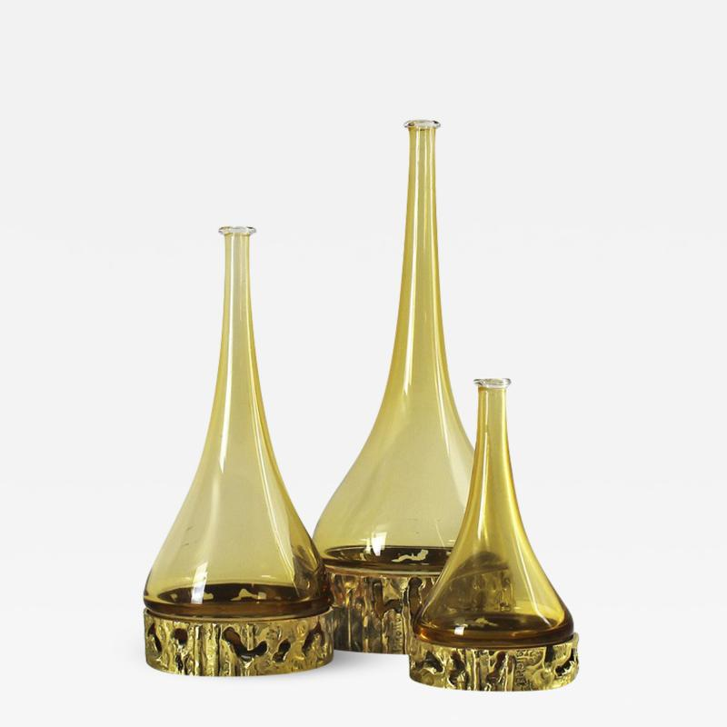Angelo Brotto SET OF THREE MURANO BOTTLES BY ANGELO BROTTO