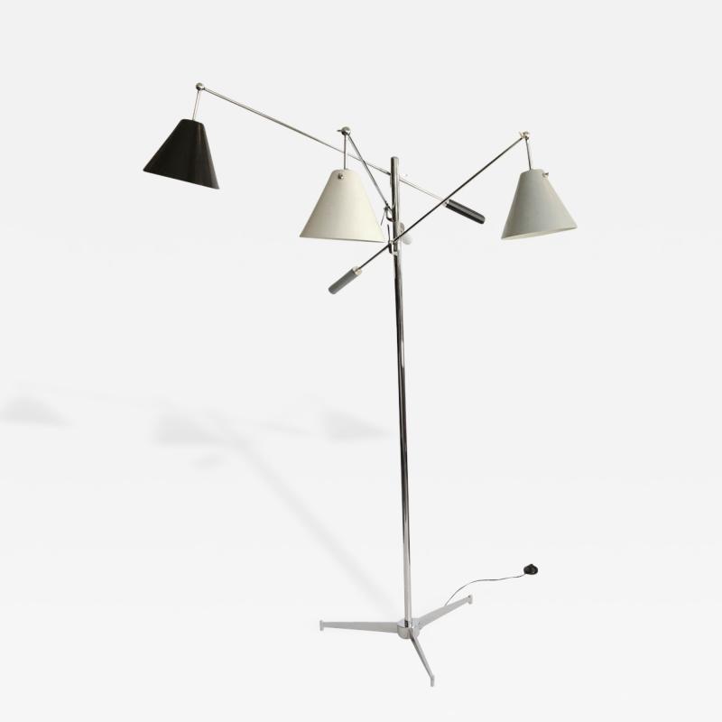 Angelo Lelii Early Angelo Lelli Arredulce Triennale Three Arm Floor Lamp Signed