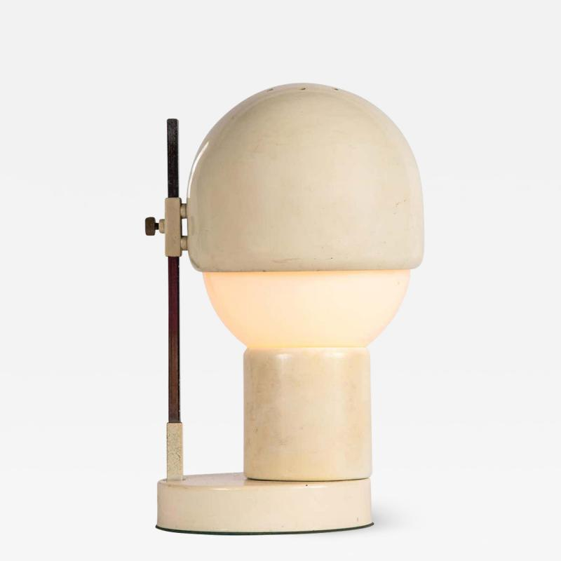 Angelo Lelii Lelli 1960s White Glass and Metal Table Lamp Attributed to Angelo Lelli for Arredoluce