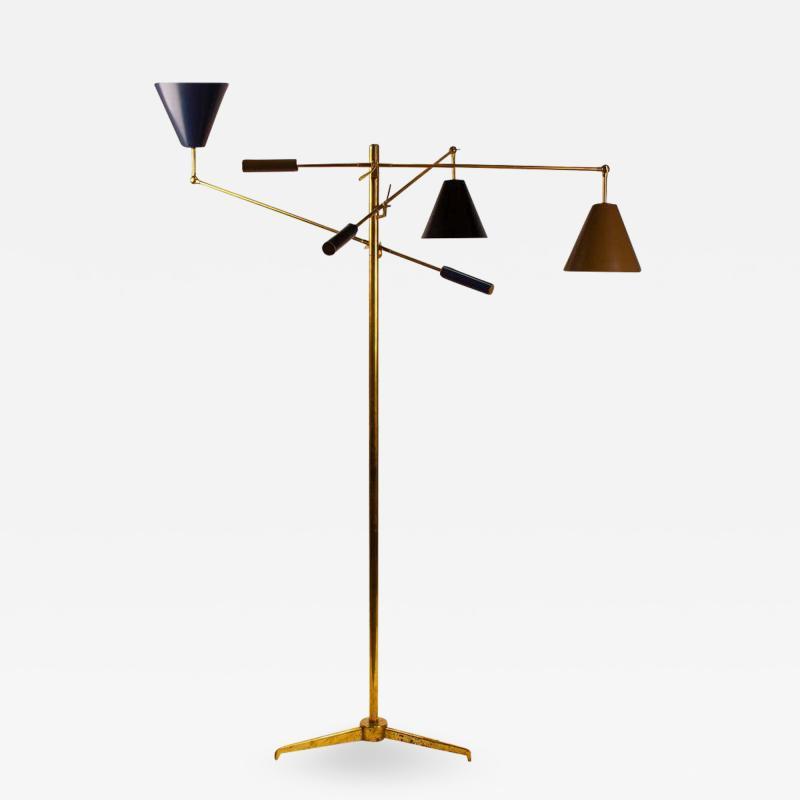 Angelo Lelii Lelli Arredoluce Triennale Brass Floor Lamp Designed by Angelo Lelii Model 12128