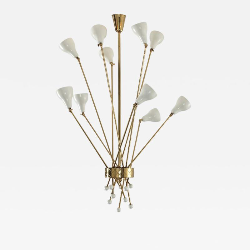 Angelo Lelii Lelli Rare ceiling lamp in brass and painted metal