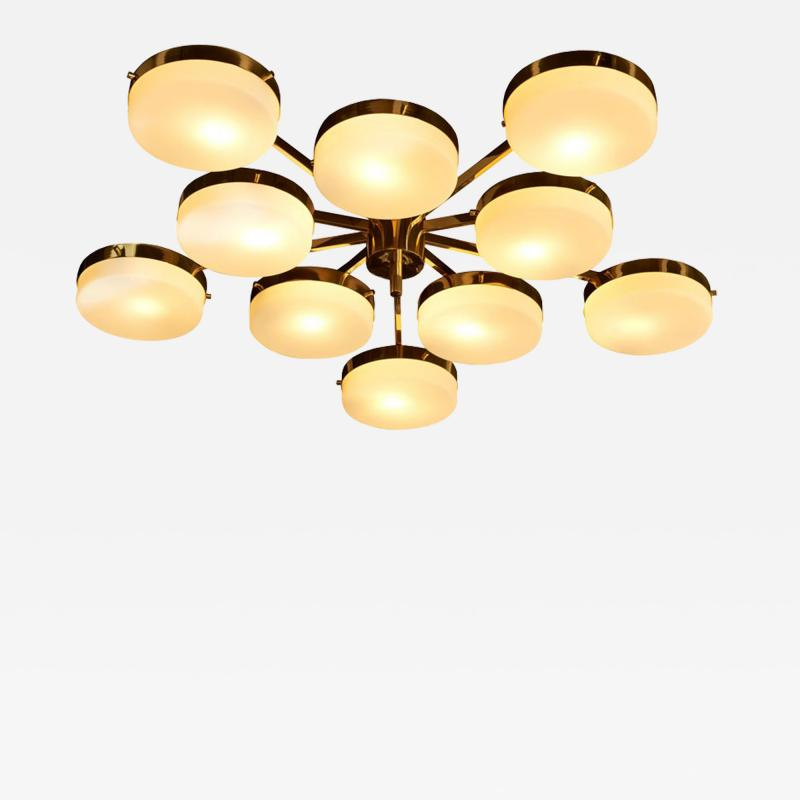 Angelo Lelli Lelii 1 of 2 Huge Brass and Glass Flush Mount in the Manner of Angelo Lelli