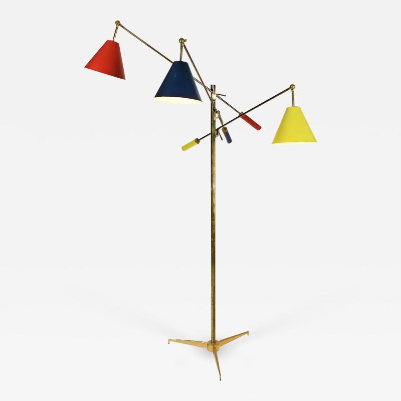 Angelo Lelli Lelii Triennale Floor lamp in brass