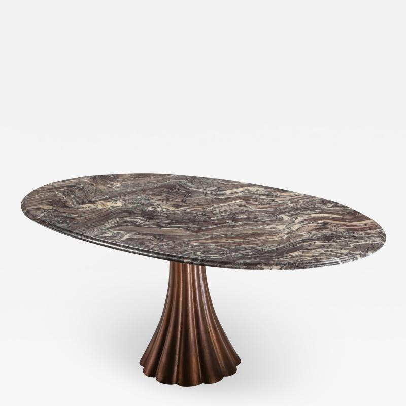 Angelo Mangiarotti Angelo Mangiarotti marble table on metallic cast base 1970s