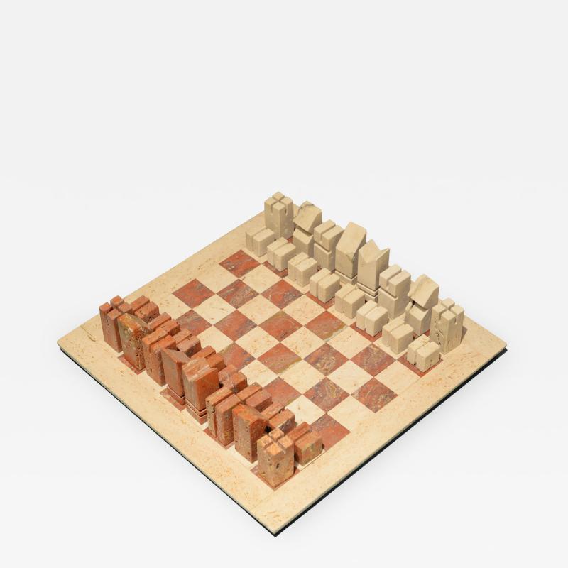 Angelo Mangiarotti Chess in travertino by Angelo Mangiarotti circa 1950
