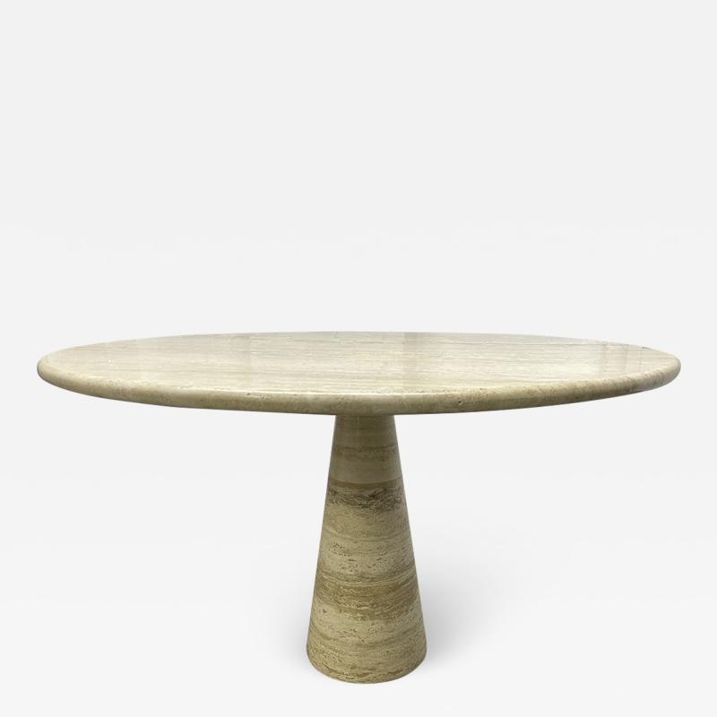 Angelo Mangiarotti Italian Travertine Table style of Angelo Mangiarotti