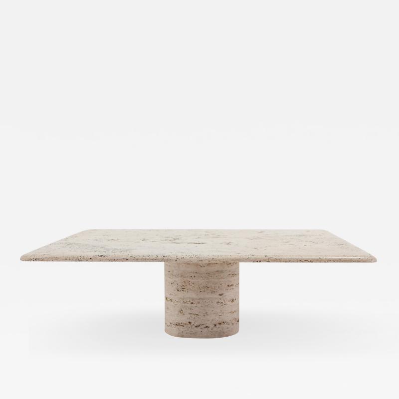 Angelo Mangiarotti Mangiarotti Square Travertine Coffee table for Up Up 1970s