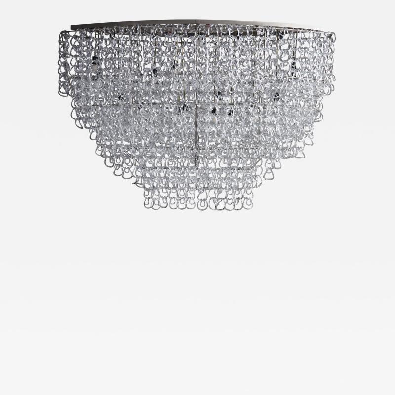 Angelo Mangiarotti Monumental Glass Chandelier by Angelo Mangiarotti for Vistosi