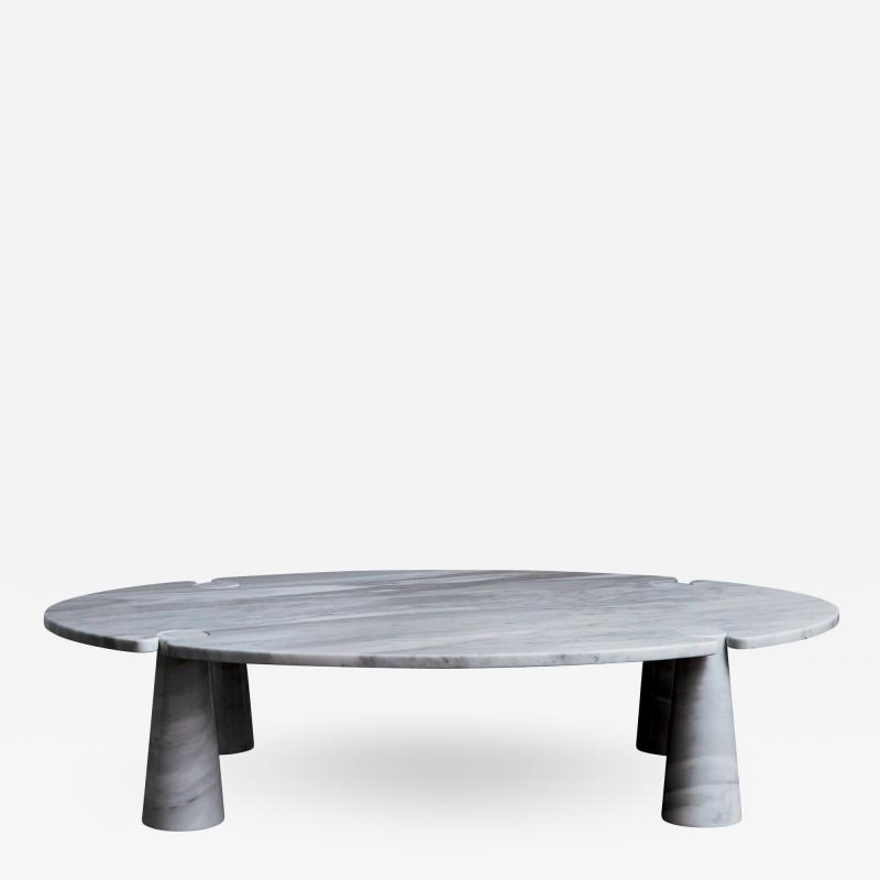 Angelo Mangiarotti Oval Eros Angelo Mangiarotti Carrara Marble Coffee Table