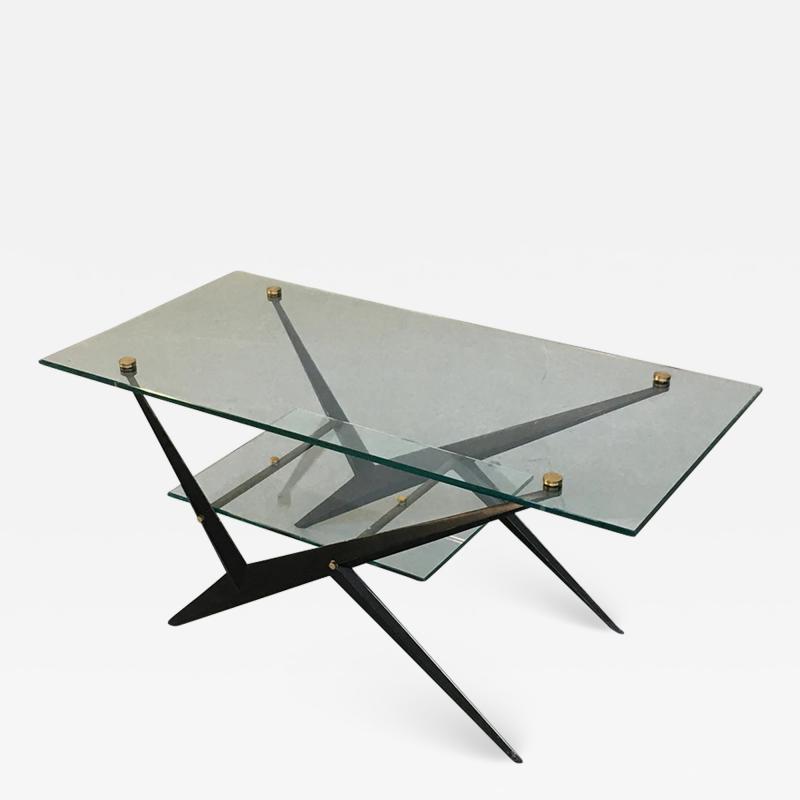 Angelo Ostuni Glass and iron coffee table by Angelo Ostuni 1950s