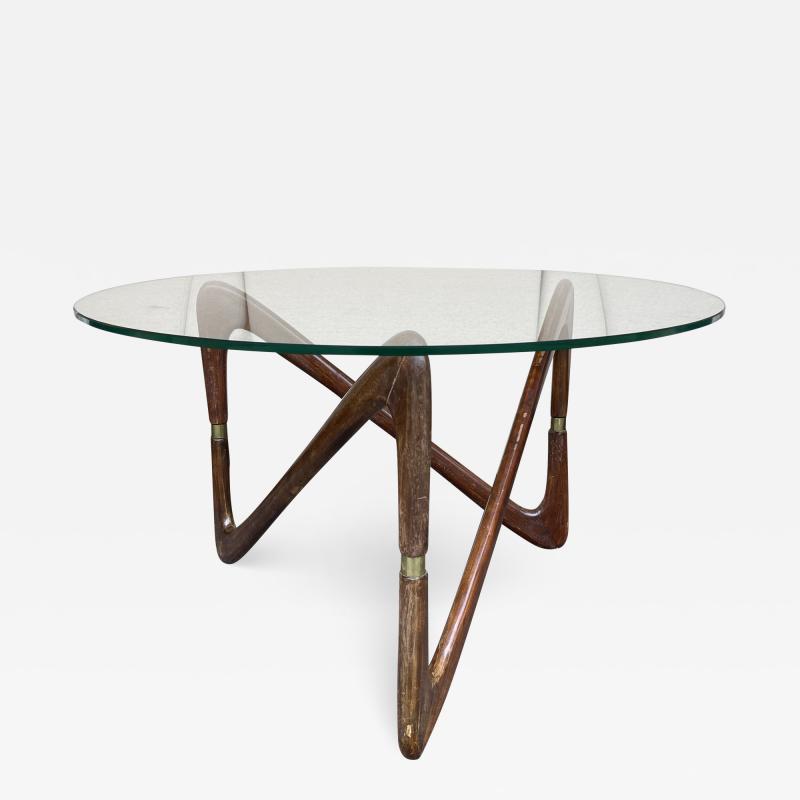 Angelo Ostuni Italian Mid Century Wood and Brass Coffee Table Italy 1950s