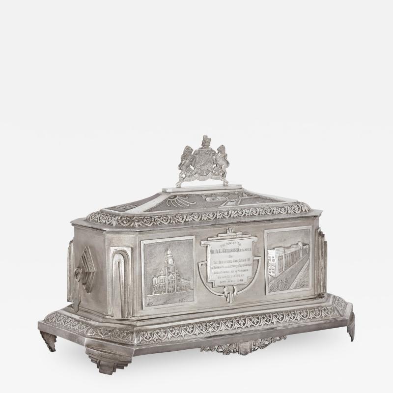 Anglo Indian Art Deco silver presentation casket