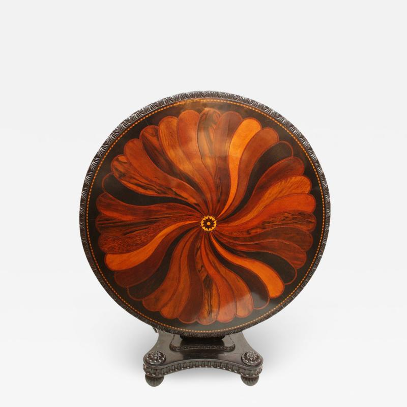Anglo Indian Ceylonese Ebony and Specimen Wood Centre Table