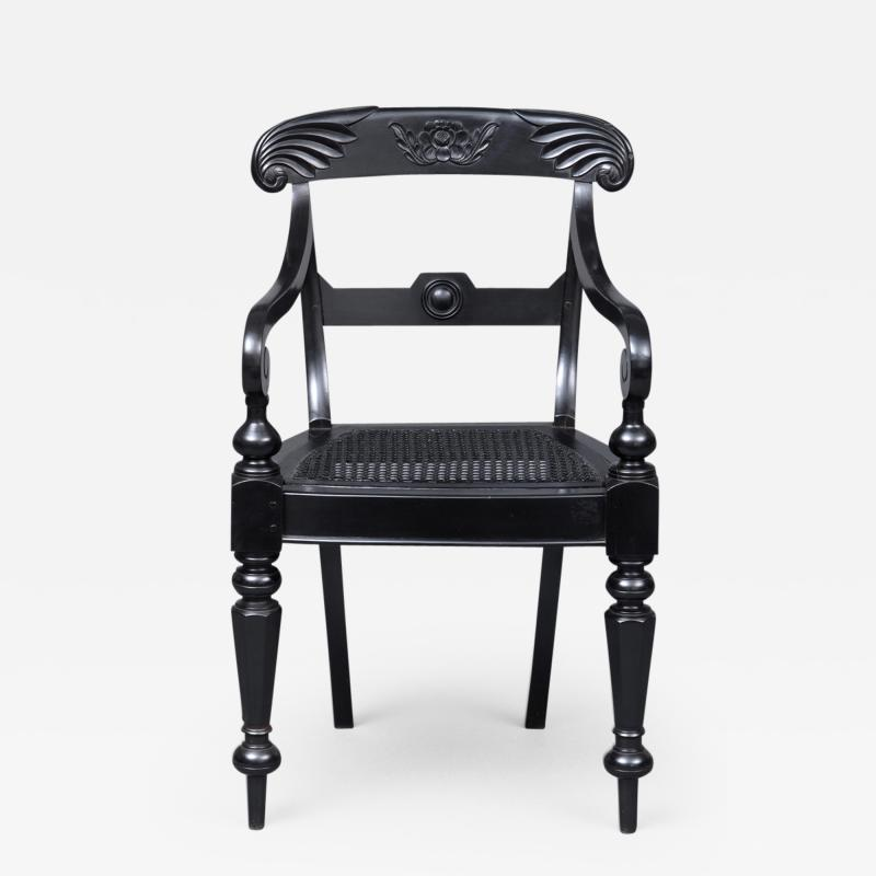 Anglo Indian Robustly Carved Ebony Armchair Circa 1840