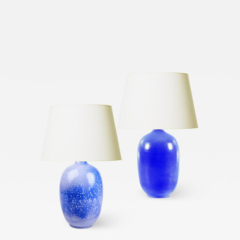 Anna Lisa Thomson Duo of Lamps in French Blues by Anna Lisa Thomson for Ekeby