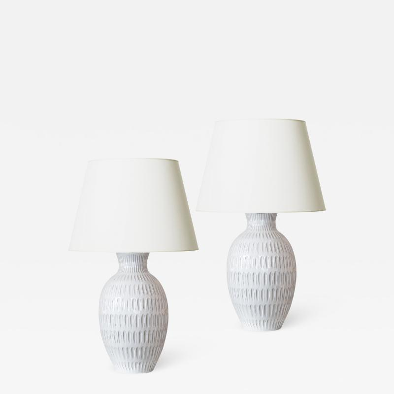 Anna Lisa Thomson Pair of Tall Swedish Modern table lamps by Anna Lisa Thomson