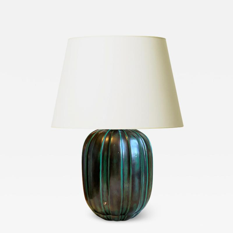 Anna Lisa Thomson Table lamp with Sculpted Fluting and Teal Glaze by Anna Lisa Thomson for Ekeby