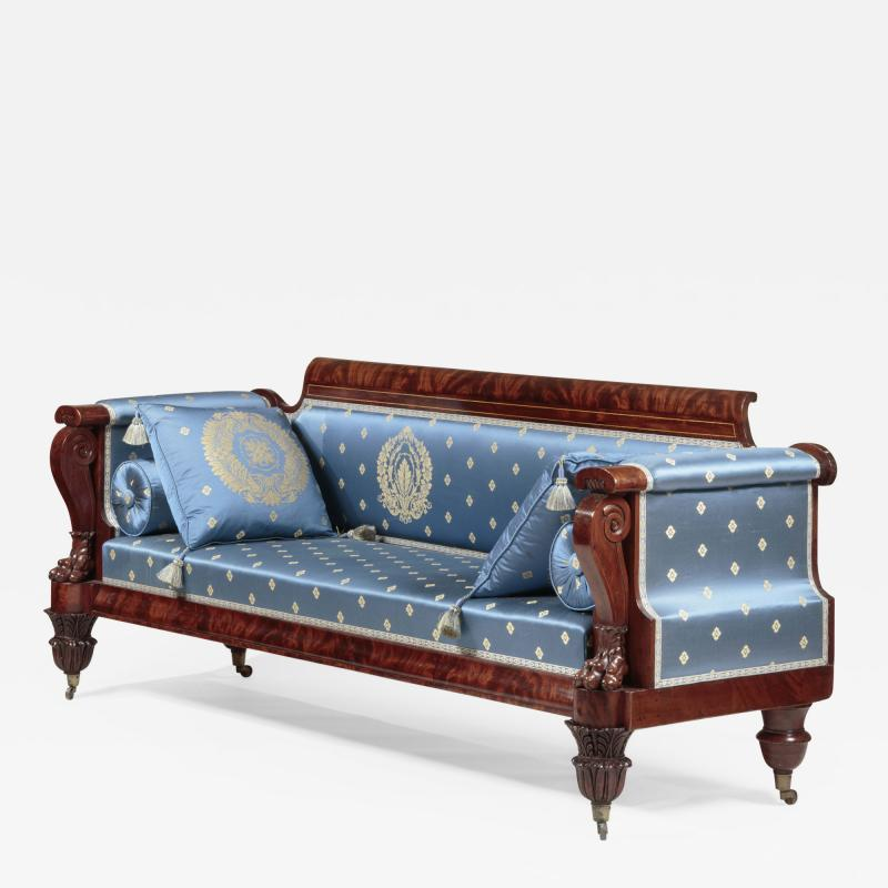 Anthony Quervelle Rosewood Inlaid Carved Mahogany Sofa