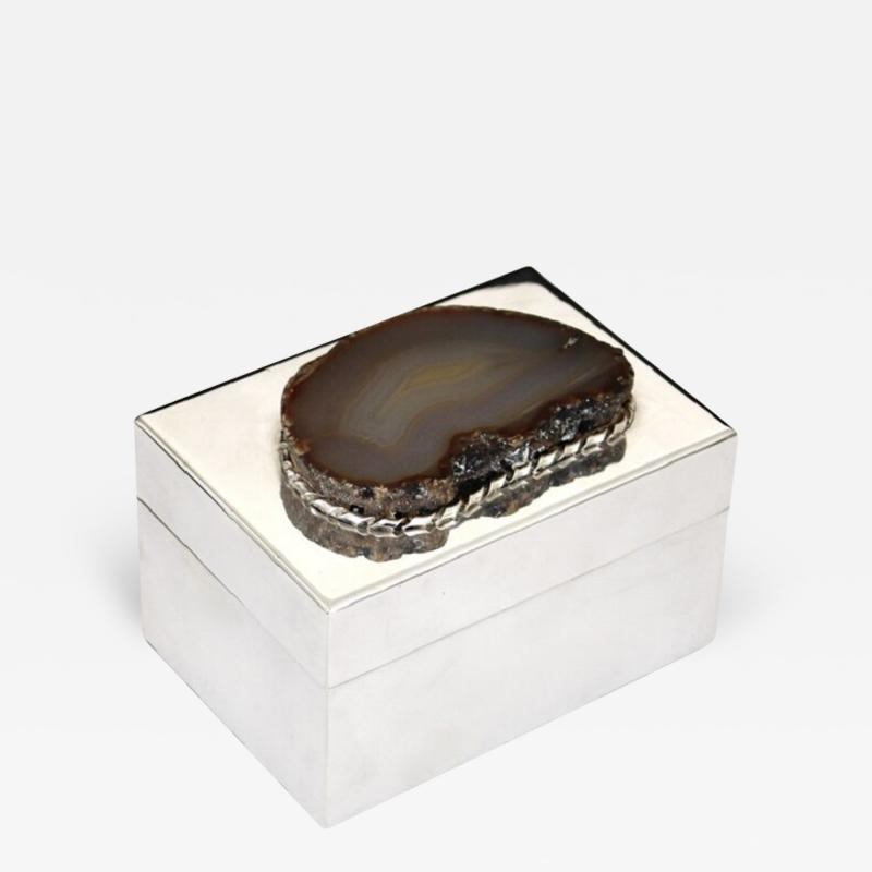 Anthony Redmile ANTHONY REDMILE SILVER PLATE BOX WITH AGATE TOP LONDON CIRCA 1970