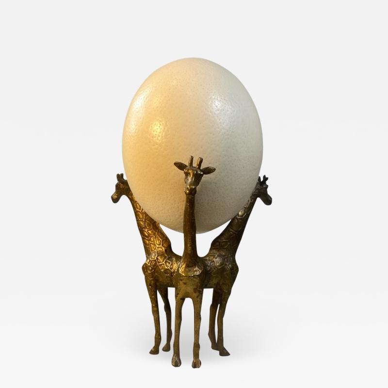 Anthony Redmile BRASS GIRAFFE AND OSTRICH EGG SCULPTURE IN THE MANNER OF ANTHONY REDMILE