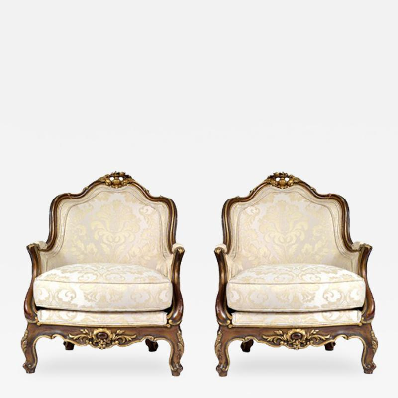 Antique 1880s Pair of Louis XV Style Carved Berg res italy
