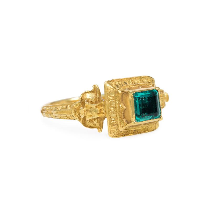 Antique 18th Century Engraved Gold and Emerald Renaissance Revival Ring